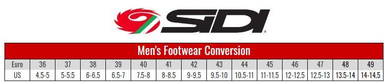 Sidi size chart