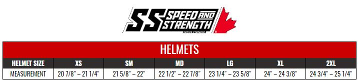 SPEED AND STRENGTH: HELMETS size chart