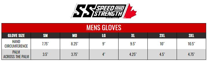 SPEED AND STRENGTH: MENS GLOVES size chart