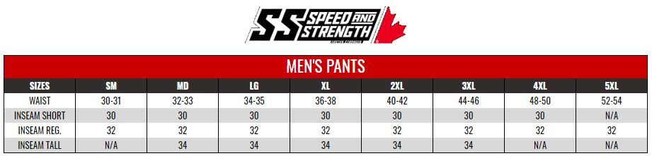 SPEED AND STRENGTH: MENS PANTS size chart