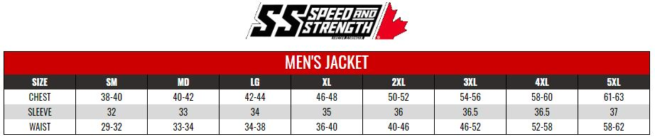 SPEED AND STRENGTH: MENS RIDING SHIRTS AND TOURING JACKETS size chart