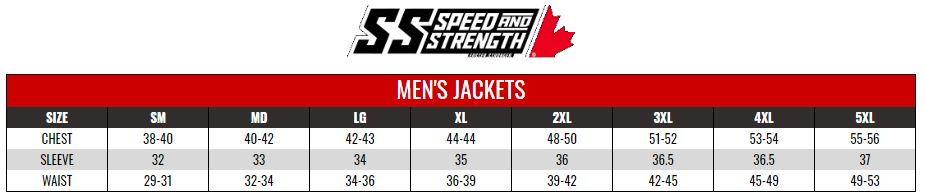SPEED AND STRENGTH: MENS SPORTS JACKETS size chart