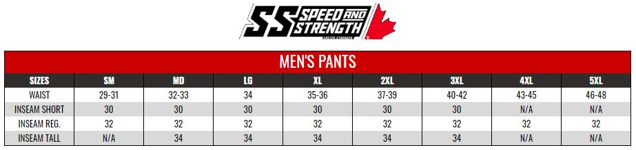 SPEED AND STRENGTH: MENS TOURING PANTS size chart