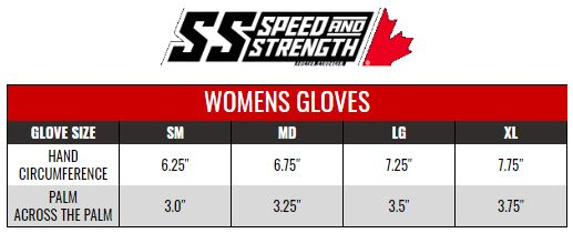 SPEED AND STRENGTH: WOMENS GLOVES size chart