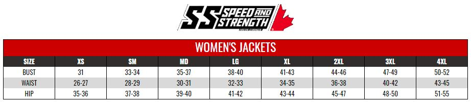SPEED AND STRENGTH: WOMENS JACKETS size chart