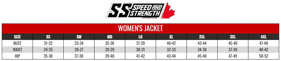 SPEED AND STRENGTH: WOMENS RIDING SHIRTS size chart