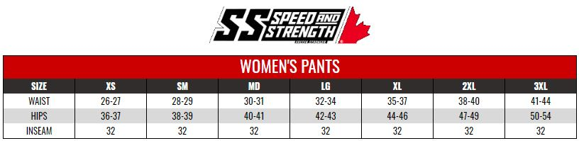 SPEED AND STRENGTH: WOMENS TOURING PANTS size chart