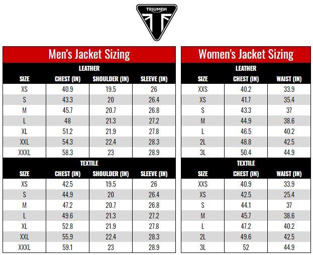 Triumph Jackets size chart