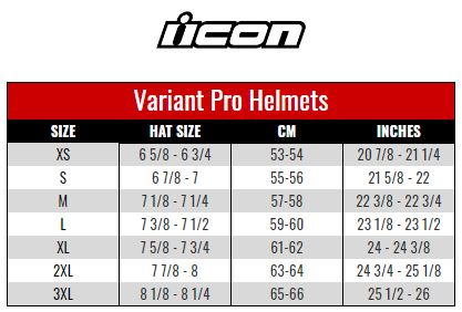 Icon Variant Pro size chart