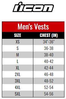 Icon Vest Men size chart