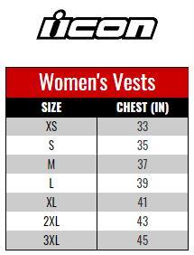 Icon Vest Women size chart