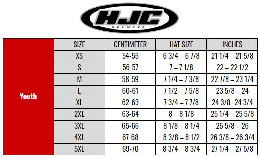 HJC Youth size chart
