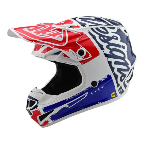 Troy Lee Designs SE4 POLYACRYLITE HELMET W/MIPS FACTORY WHITE / BLUE