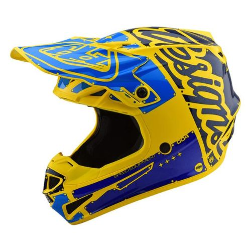 Troy Lee Designs SE4 POLYACRYLITE HELMET W/MIPS FACTORY YELLOW/ BLUE