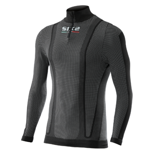 SIX2 Long Sleeve Turtleneck Jersey with Zipper Thermo Carbon Underwear